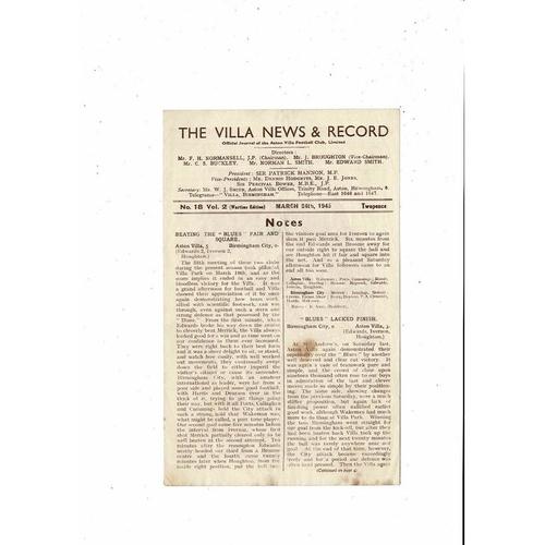 1944/45 Aston Villa v Wolves War Cup Football Programme March
