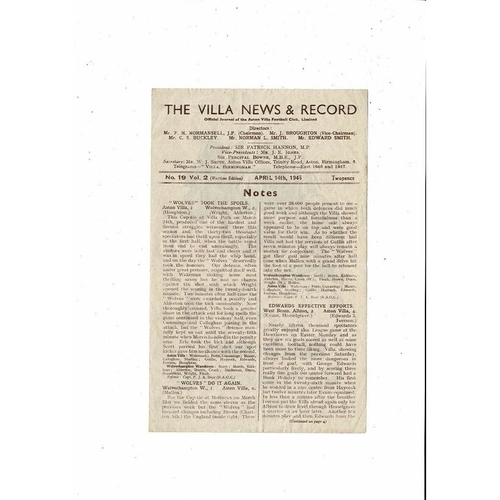 1944/45 Aston Villa v Leicester City Football Programme
