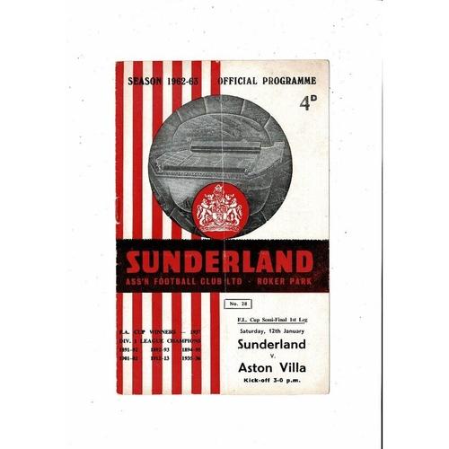 1962/63 Sunderland v Aston Villa League Cup Semi Final Football Programme