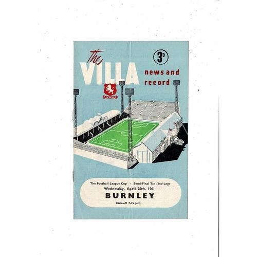 1960/61 Aston Villa v Burnley League Cup Semi Final Football Programme