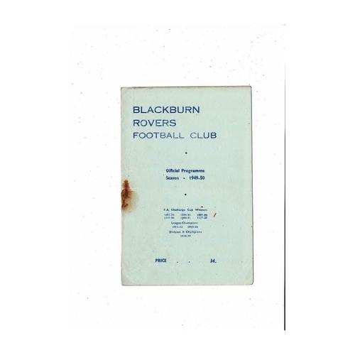 1949/50 Blackburn Rovers v Preston Football Programme