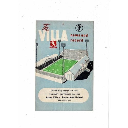 1961 Aston Villa v Rotherham League Cup Final Football Programme