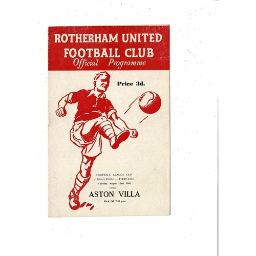 1961 Rotherham United v Aston Villa League Cup Final Football Programme