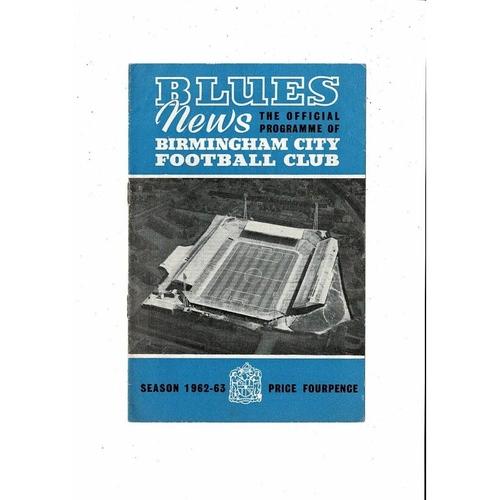 1963 Birmingham City v Aston Villa League Cup Final Football Programme