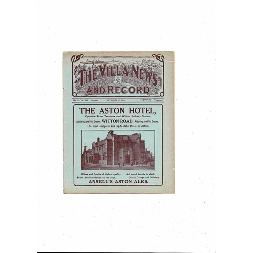 1923/24 Aston Villa v Liverpool Ex Bound Volume Football Programme