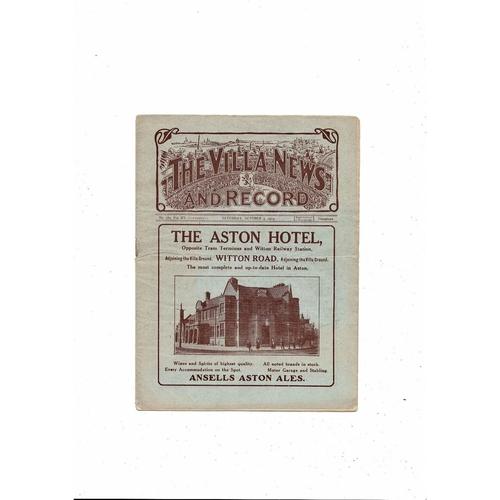 1924/25 Aston Villa v Huddersfield Town Football Programme