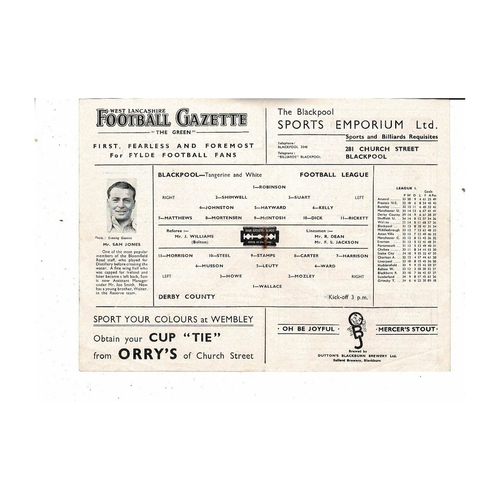 1947/48 Blackpool v Derby County Football Programme