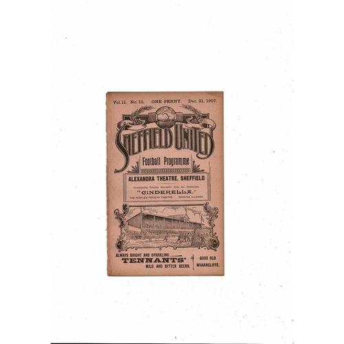 1907/08 Sheffield United v Aston Villa Football Programme