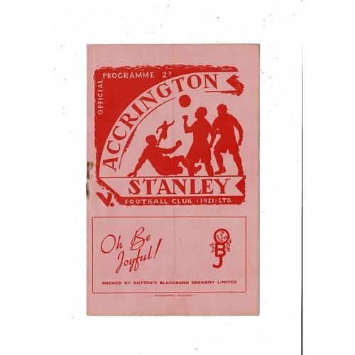 1951/52 Accrington Stanley v Chester FA Cup Football Programme