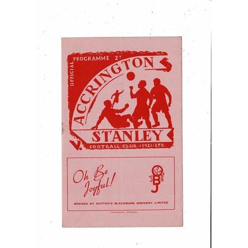 1951/52 Accrington Stanley v Hartlepool United Football Programme