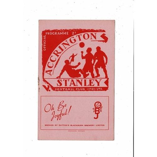 1951/52 Accrington Stanley v Lincoln City Football Programme