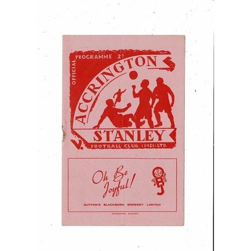 1952/53 Accrington Stanley v Chester Football Programme
