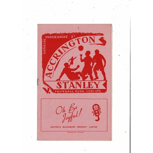 1952/53 Accrington Stanley v Southport Football Programme