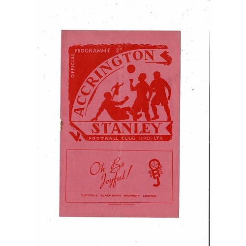 1952/53 Accrington Stanley v Scunthorpe United Football Programme