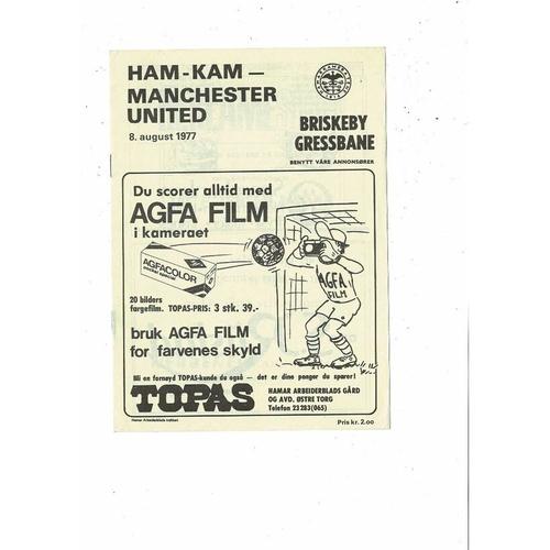 HAM - KAM v Manchester United Friendly Football Programme 1977/78