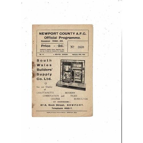 1948/49 Newport County v Bristol Rovers Football Programme