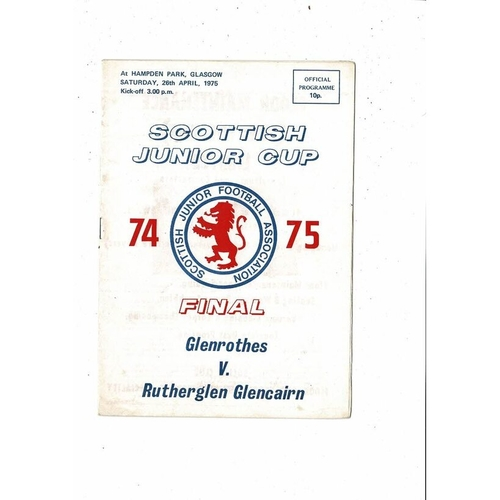 Glenrothes v Rutherglen Junior Cup Final Football Programme 1975 Autographed