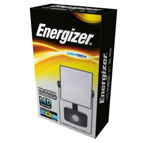 PIR LED FLOODLIGHT - 10W - 900 LUMEN - 6,000K (DAYLIGHT) - ENERGIZER - S10928