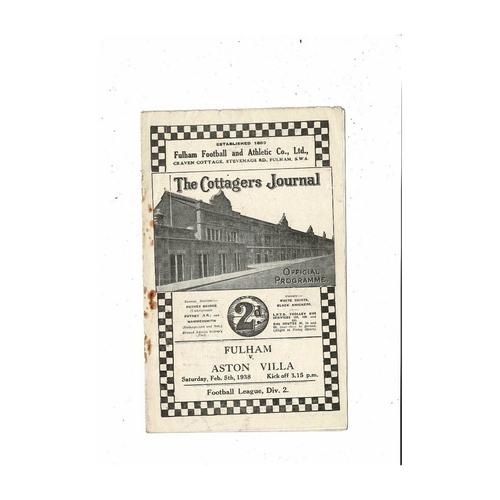 1937/38 Fulham v Aston Villa Football Programme