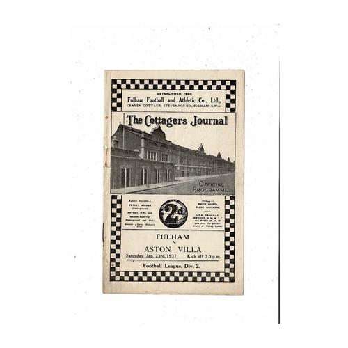 1936/37 Fulham v Aston Villa Football Programme