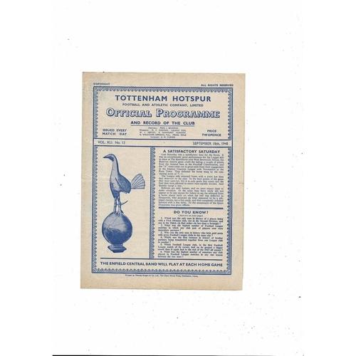 1948/49 Tottenham Hotspur v Bury Football Programme