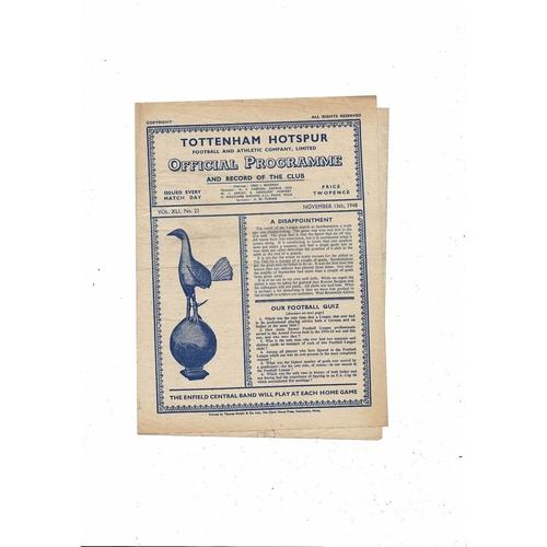 1948/49 Tottenham Hotspur v Barnsley Football Programme