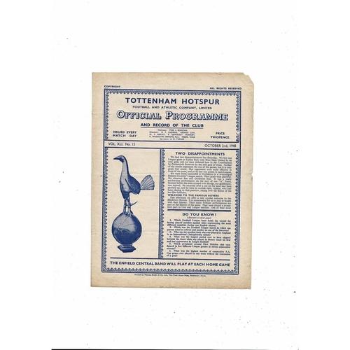 1948/49 Tottenham Hotspur v Blackburn Rovers Football Programme
