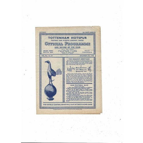 1948/49 Tottenham Hotspur v Leicester City Football Programme