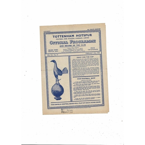 1948/49 Tottenham Hotspur v West Ham United Football Programme