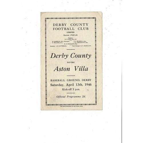 1945/46 Derby County v Aston Villa Football Programme April 13th