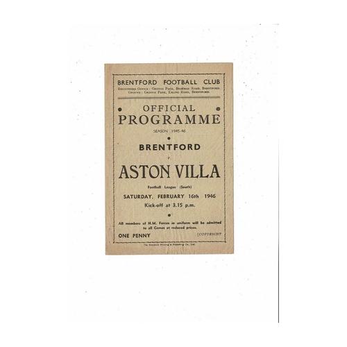 1945/46 Brentford v Aston Villa Football Programme