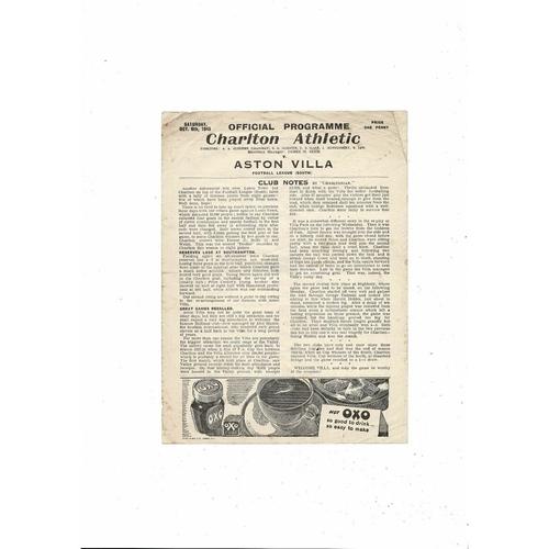 1945/46 Charlton Athletic v Aston Villa Football Programme