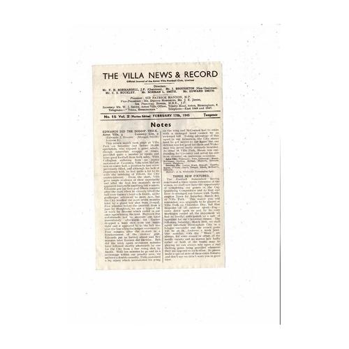 1944/45 Aston Villa v Walsall War Cup Football Programme