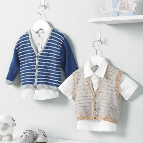 4ply baby boy cardigan and waistcoat pattern 5221
