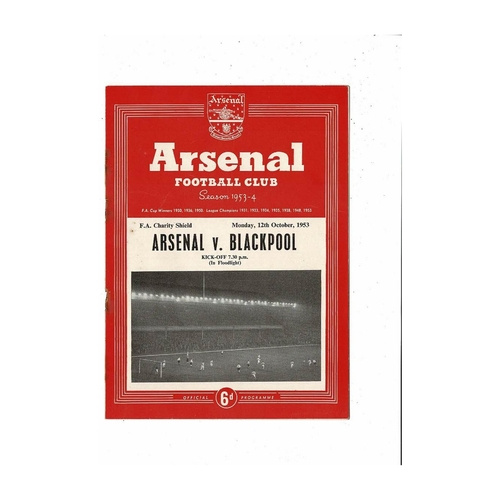 1953 Arsenal v Blackpool Charity Shield Football Programme