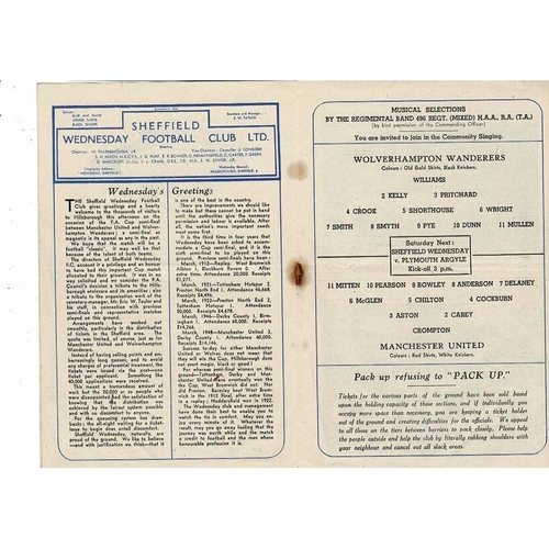 1949 Wolves v Manchester United FA Cup Semi Final Football Programme