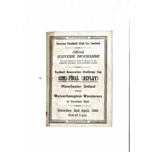 1949 Manchester United v Wolves FA Cup Semi Final Replay Football Programme