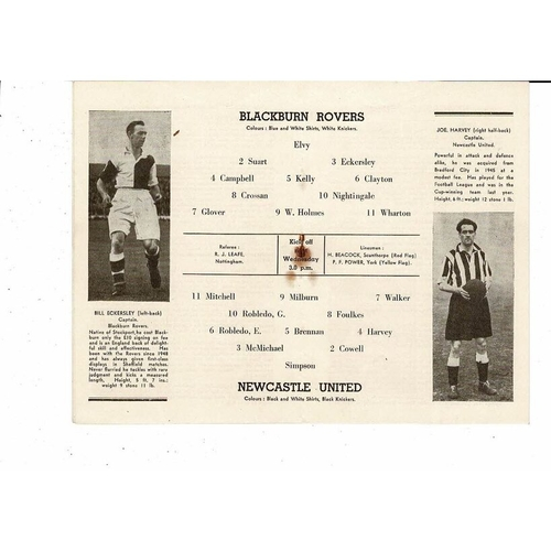1952 Blackburn Rovers v Newcastle United FA Cup Semi Final Football Programme