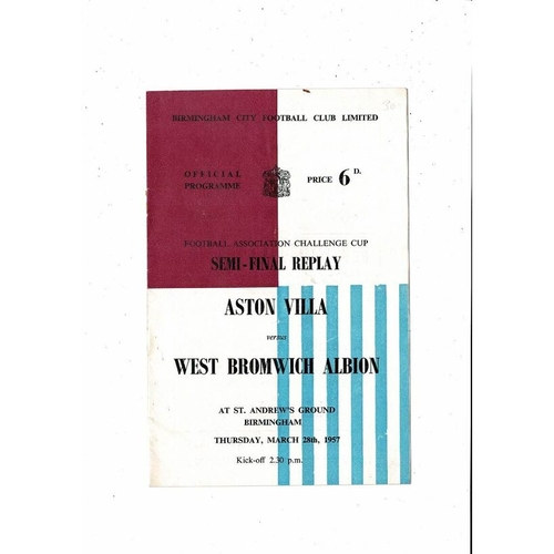 1957 Aston Villa v West Bromwich Albion FA Cup Semi Final Replay Football Programme @ Birmingham City