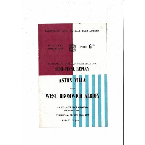 1957 Aston Villa v West Bromwich Albion FA Cup Semi Final Replay Football Programme @ Birmingham City