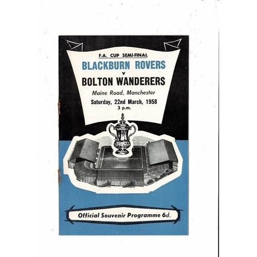 1958 Blackburn Rovers v Bolton Wanderers FA Cup Semi Final Football Programme @ Manchester City