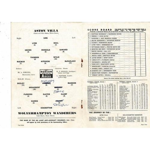 1960 Aston Villa v Wolves FA Cup Semi Final Football Programme