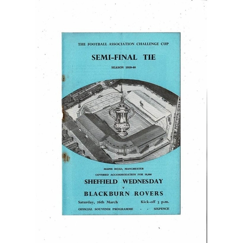 1960 Sheffield Wednesday v Blackburn Rovers FA Cup Semi Final Football Programme @ Manchester City