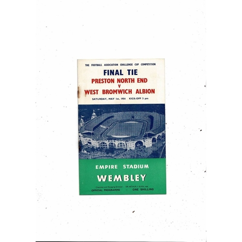 1954 Preston v West Bromwich Albion FA Cup Final Football Programme