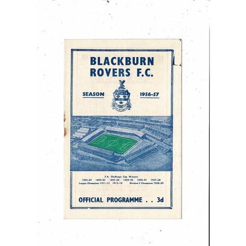 1956/57 Blackburn Rovers v Grimsby Town Football Programme
