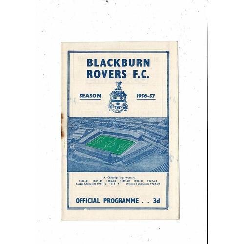 1956/57 Blackburn Rovers v Huddersfield Town Football Programme