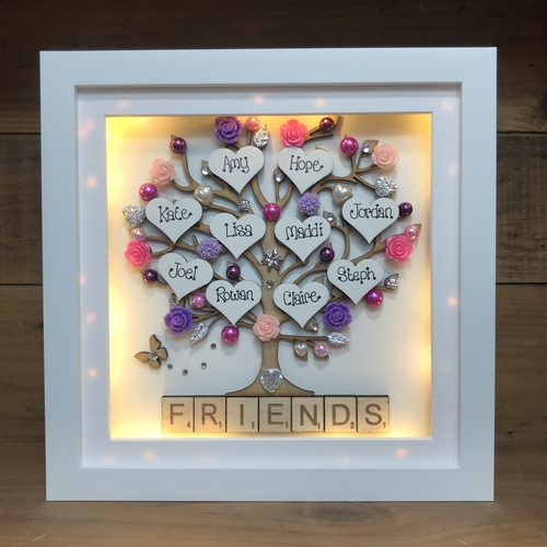 """ floral friends "" tree frame"
