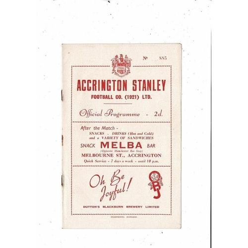 1953/54 Accrington Stanley v Stockport County Football Programme