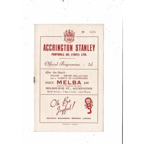 1953/54 Accrington Stanley v Workington Football Programme