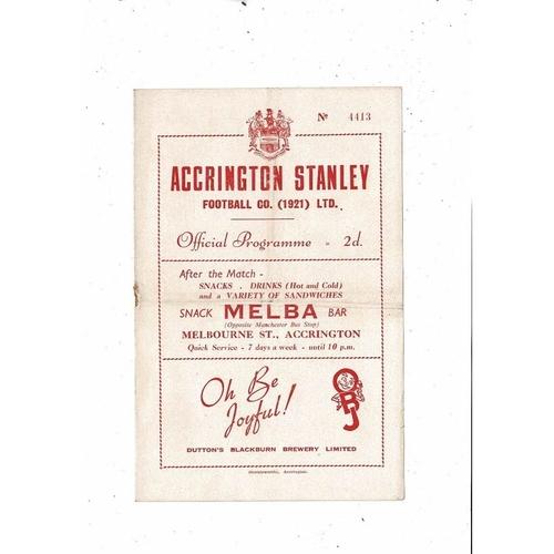1953/54 Accrington Stanley v Wrexham Football Programme